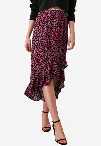 Trendyol pink Print Ruffle Hem Split Skirt A5358AA6B36B22GS_1