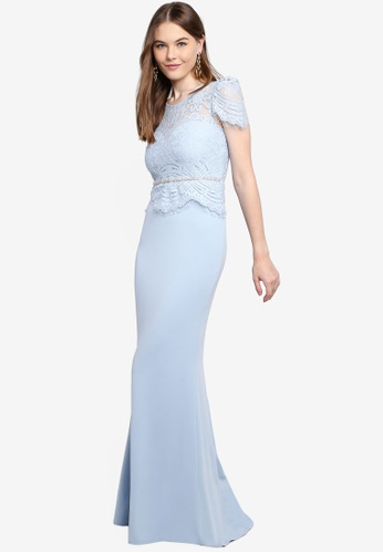 Light Blue Lace Embroidered Fishtail Maxi Dress