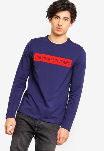 Calvin Klein 黑色 Long Sleeve Institutional Logo Slim Tee - Calvin Klein Jeans CBE69AA5DFB9B9GS_1
