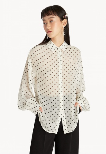 f9e98df5bdadf Buy Pomelo Sheer Puff Sleeve Blouse - White Online on ZALORA Singapore