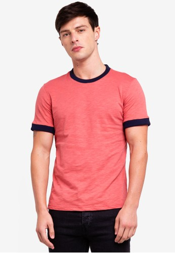 UniqTee pink and multi Slim Fit Tshirt With Contrast Neck And Cuff 76F83AA1ECFB9AGS_1