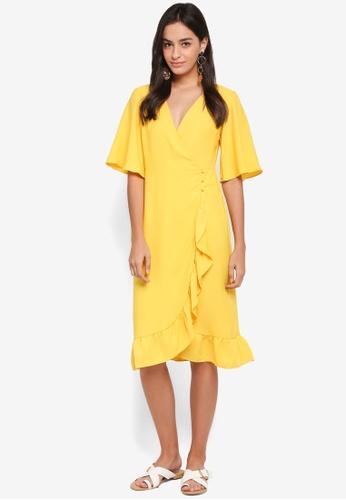TOPSHOP yellow Crepe Ruffle Midi Wrap Dress CD32BAA8DC9CACGS_1