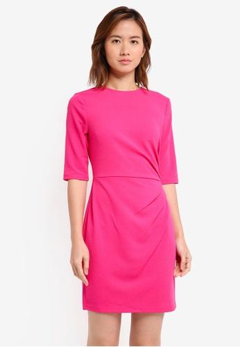 ZALORA pink Drape Pleated Dress 3C3E7AA751A87BGS_1