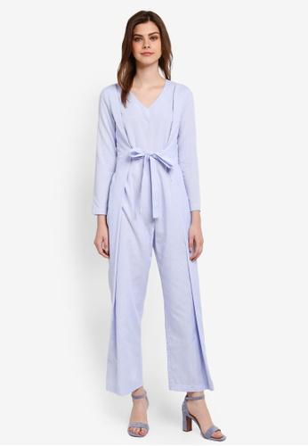 Zalia blue Wrap Tie Jumpsuit F0BB4AAB65F83EGS_1