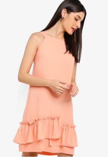 ZALORA 橘色 荷葉飾滾邊短洋裝 86537AA1D3AE08GS_1