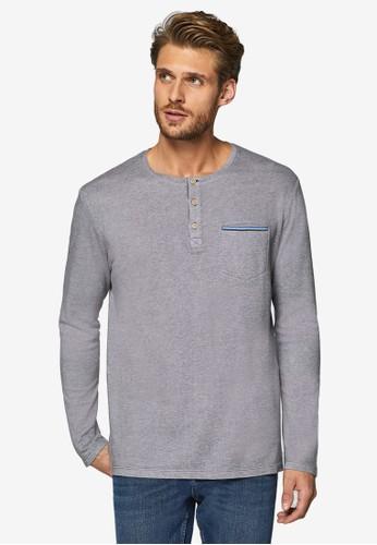 ESPRIT grey Long Sleeve Henley T-Shirt 5283DAAA9A0399GS_1