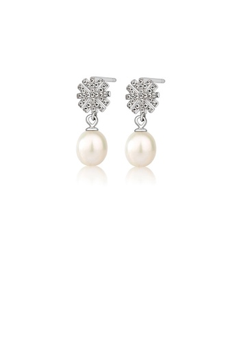 Glamorousky white 925 Sterling Silver Fashion and Elegant Snowflake White Freshwater Pearl Earrings with Cubic Zirconia FFB2BACC74ECFBGS_1