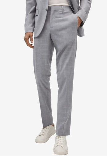 MANGO Man grey Super Slim Fit Checked Tailored Trousers C2F8DAAD3A2CAEGS_1