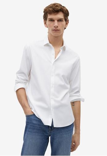 MANGO Man white Slim Fit Cotton Shirt 65B89AAD32E75AGS_1