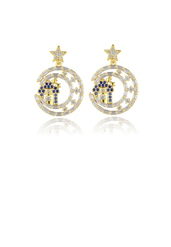 Glamorousky white Fashion Temperament Plated Gold Moon Star Earrings with Cubic Zirconia F2607ACF6007F3GS_1