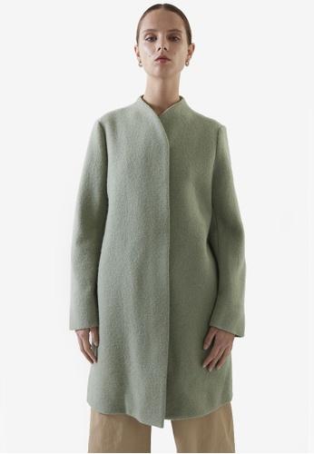 Cos green Stand Collar Wool Coat D55D6AAF601802GS_1