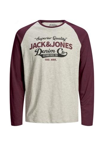 Jack & Jones red Raglan Logo Long Sleeves Tee 60E4AKA8E9C430GS_1