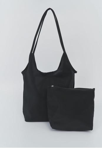 We Enjoy Simplicity black Matte Nylon Shoulder Bag + Pouch (Black) F2D1CAC181C5D5GS_1
