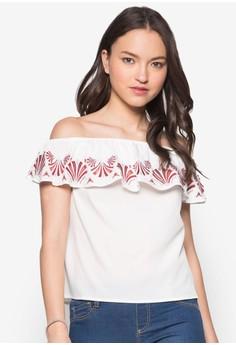 Love Embroidered Off Shoulder Top