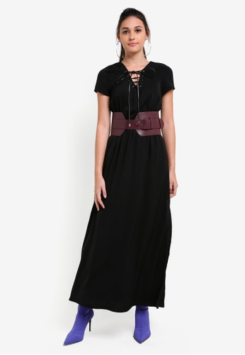 Something Borrowed black Faux Leather Belted Maxi Dress 3D39FAACA3291DGS_1