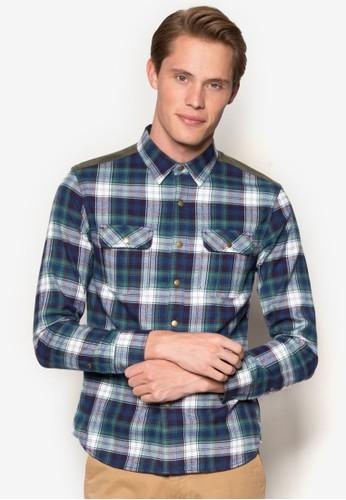 拼色格紋長袖襯衫, 服esprit高雄門市飾, 服飾