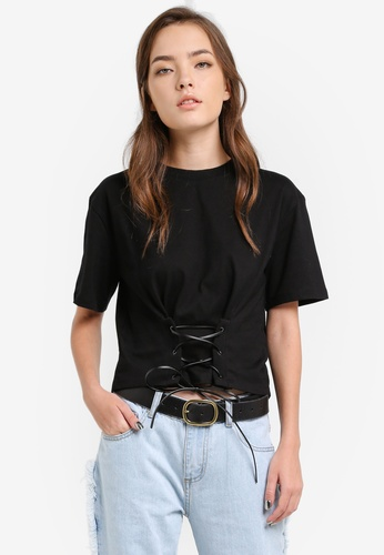 Something Borrowed black Lace Up Detail Tee A461CAA5EF71B8GS_1