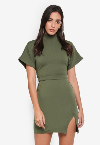 MISSGUIDED green High Neck Wrap Waist Shift Dress 161BBAA095052AGS_1
