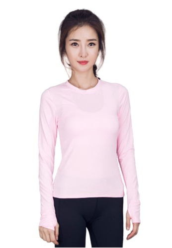 B-Code pink ZYG3036-Lady Quick Drying Running Fitness Yoga Sports Top -Pink F129CAADC87702GS_1