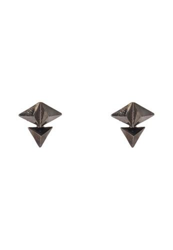立體三角形耳墜, 飾esprit hk品配件, 耳釘