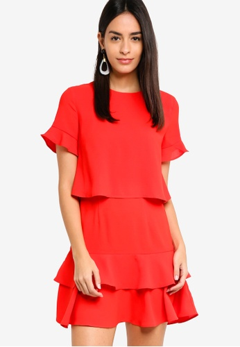 ZALORA red Fit And Flare Layered Dress EB012AA8FC4A22GS_1