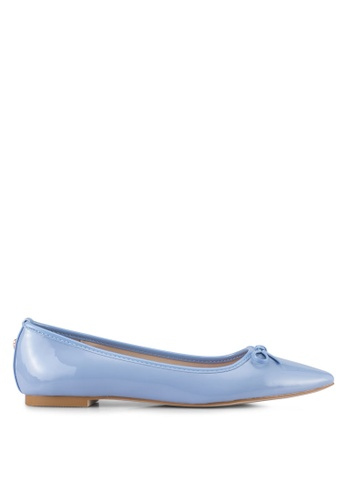 Velvet blue Faux Patent Leather Pointed Toe Flats 4F0D9SH3B698DCGS_1