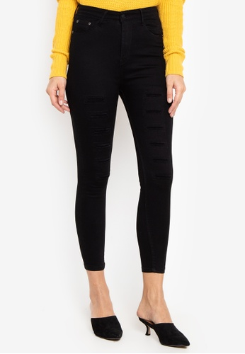Balaynor black High Waist Ripped Repair Jeans 04252AABB80888GS_1