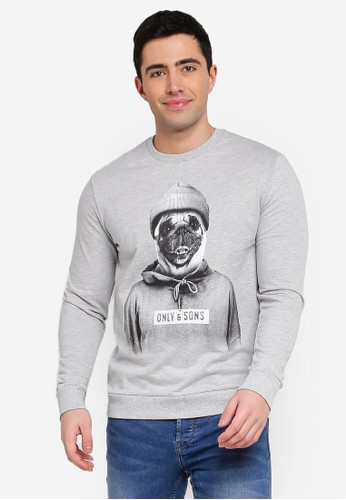 Only & Sons grey Octan Graphic Print Sweatshirt 21B79AA3D6C7C3GS_1