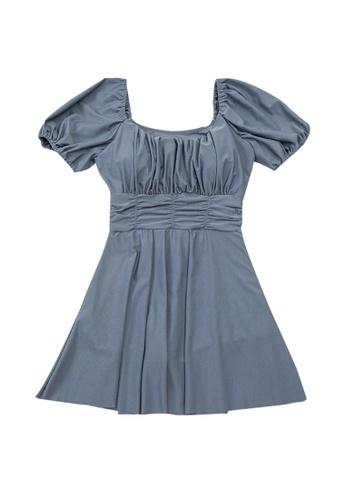 ZITIQUE blue Women's Stylish Solid Color Short Puff Sleeve One-piece Swimsuit - Blue C4B74USD68F10FGS_1