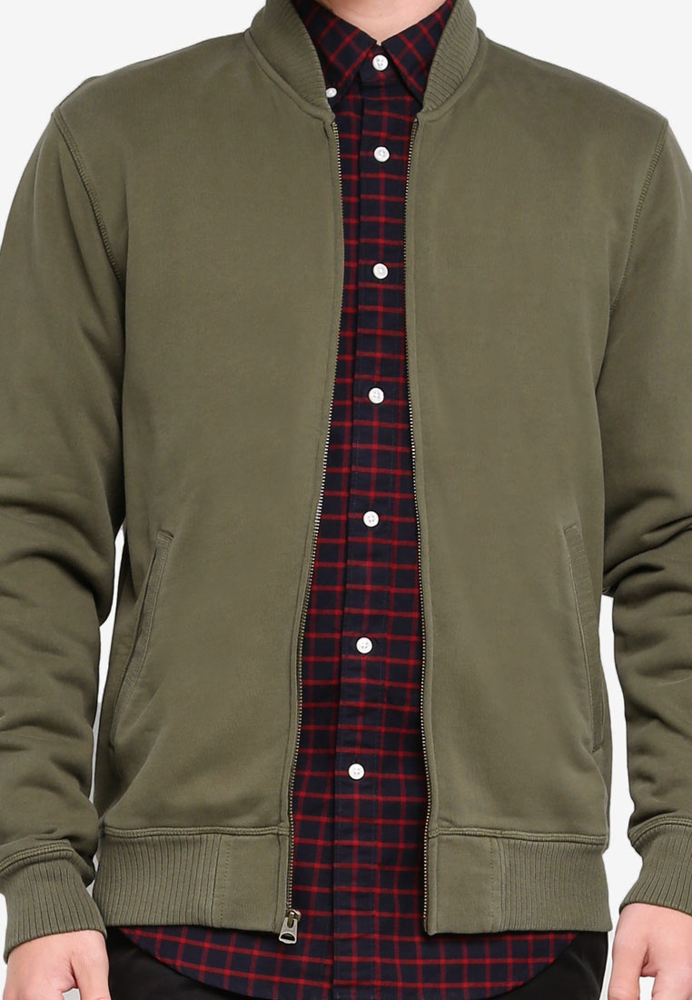 Green Terry J Classic Bomber Jacket French Crew RYxqPfx