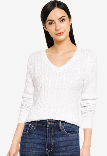 Hollister white Icon Cable V-Neck Knit Top 414EEAA893D00DGS_1