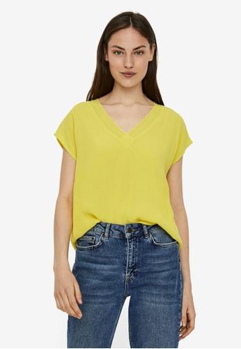Vero Moda yellow Zakynthos Cap Sleeve V-Neck Top 2BC8AAAB4C4456GS_1