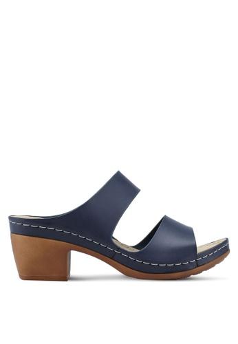 Bata 海軍藍色 雙帶粗跟涼鞋 E3783SHCE76411GS_1