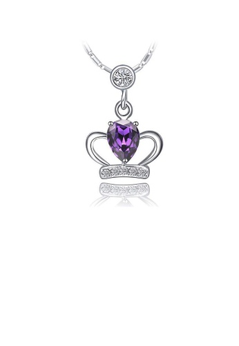 Glamorousky purple 925 Sterling Silver Crown Pendant with Purple Austrian Element Crystal and Necklace E5C3AAC47FB533GS_1