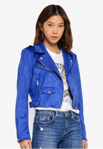 Shop ONLY Sherry Cropped Bonded Biker Jacket Online on ZALORA Philippines 205321acd3