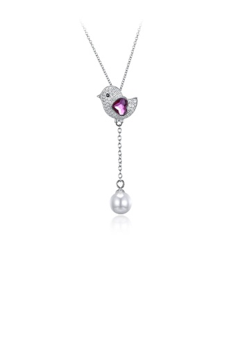 Glamorousky white 925 Sterling Silver Cute Bird Pink Austrian Element Crystal Pendant with Pearl and Necklace E3809AC9A61D51GS_1