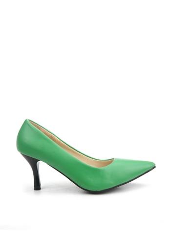 KissXXX 綠色 低反發舒適感美腿效果7CM小尖頭高跟鞋 KI603SH09MPXTW_1