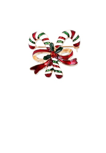 Glamorousky red Fashion and Simple Plated Gold Christmas Cane Ribbon Brooch with Cubic Zirconia E1707AC5ACD9AEGS_1