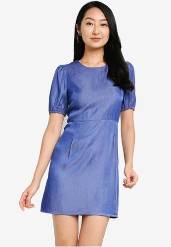 ZALORA BASICS blue Chambray Puff Sleeve Sheath Dress 138D6AAF7E43EEGS_1