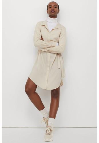 H&M beige Short shirt dress 09912AA20FDE53GS_1