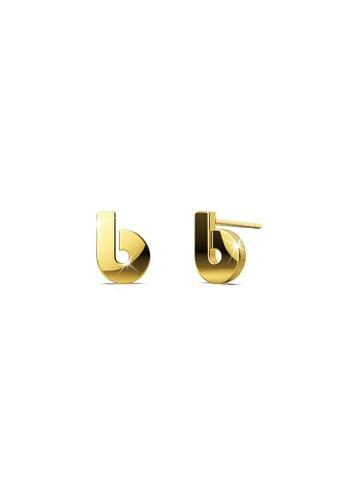 Bullion Gold gold BULLION GOLD Bold Initial Alphabet Letter Earrings Gold Layered Steel Jewellery- B 0A2DAACA2B09C8GS_1