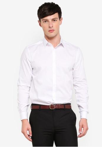 Burton Menswear London 白色 White Slim Fit Textured Stretch Shirt 5DF3FAACB9EA5DGS_1