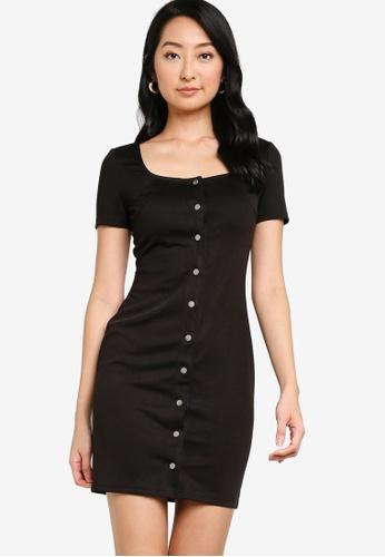 ZALORA BASICS black Button Down Bodycon Dress 9E703AA9CF30EEGS_1