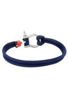 Silver Shackle Navy Blue Bracelet