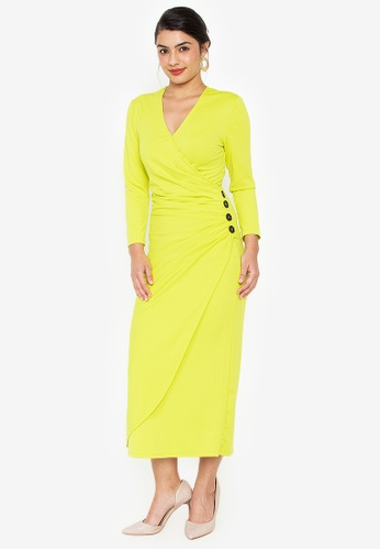 Wear Kris yellow Kirsten Overlap Knit Dress with Button Detail FF4C0AACD47CEDGS_1