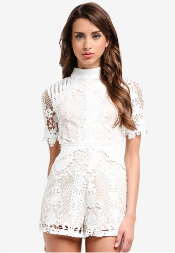 MISSGUIDED white Lace High Neck Playsuit 0B859AA4FCC0FCGS_1
