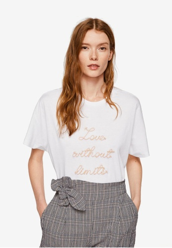 Mango white Embroidered Message T-Shirt A6651AA026502BGS_1