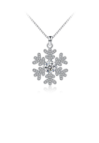 Glamorousky white 925 Sterling Silver Snowflake Pendant with White Cubic Zircon and Necklace A29A6AC0D15931GS_1