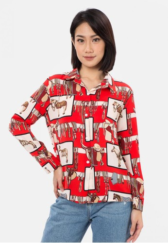 MKY Clothing red Horse Printed Long Sleeve Shirt 0DE6CAABEE592DGS_1