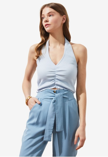 Trendyol blue Gathered Front Halter Top 75082AAEA86681GS_1